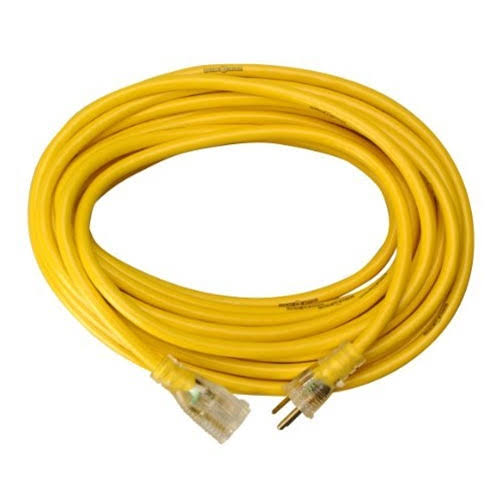 Yellow Jacket 2884 SJTW Contractor Extension Cord - with Lighted Ends, 50', 12/3 Heavy-Duty 15 Amp