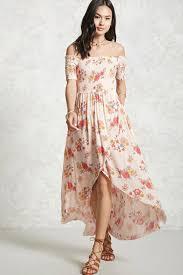 floral smocked high low dress forever 21 2000093650