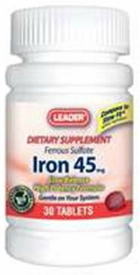 Leader Iron 45 Slow Release Tablets, 45mg, 30ct