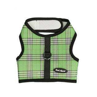 Bark Appeal Plaid Mesh Wrap N Go Harness - Green, Medium