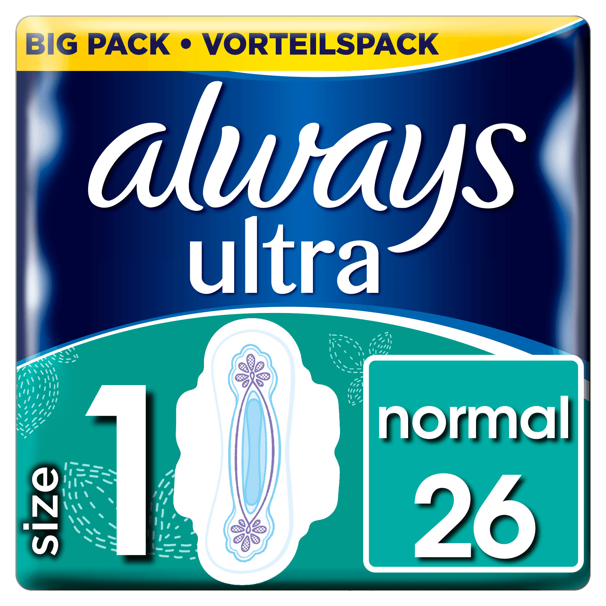Always Ultra Normal Sanitary Towels Wings - 26 Pads, Size 1