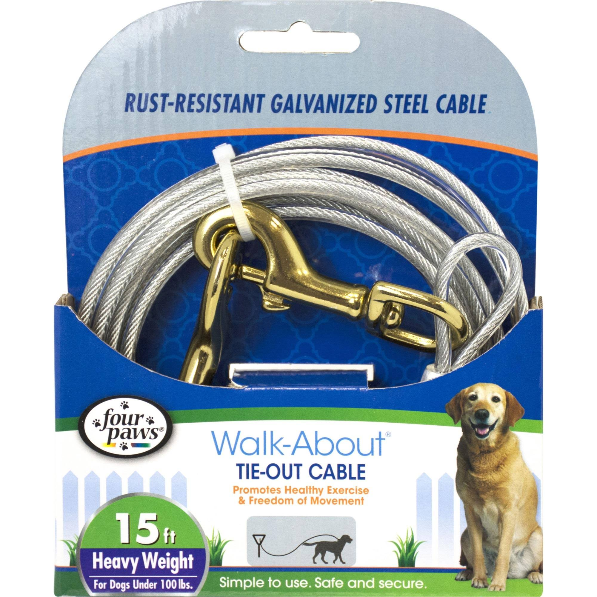 Four Paws Dog Tie-Out Cable - Bronze Snaps, 15 Feet