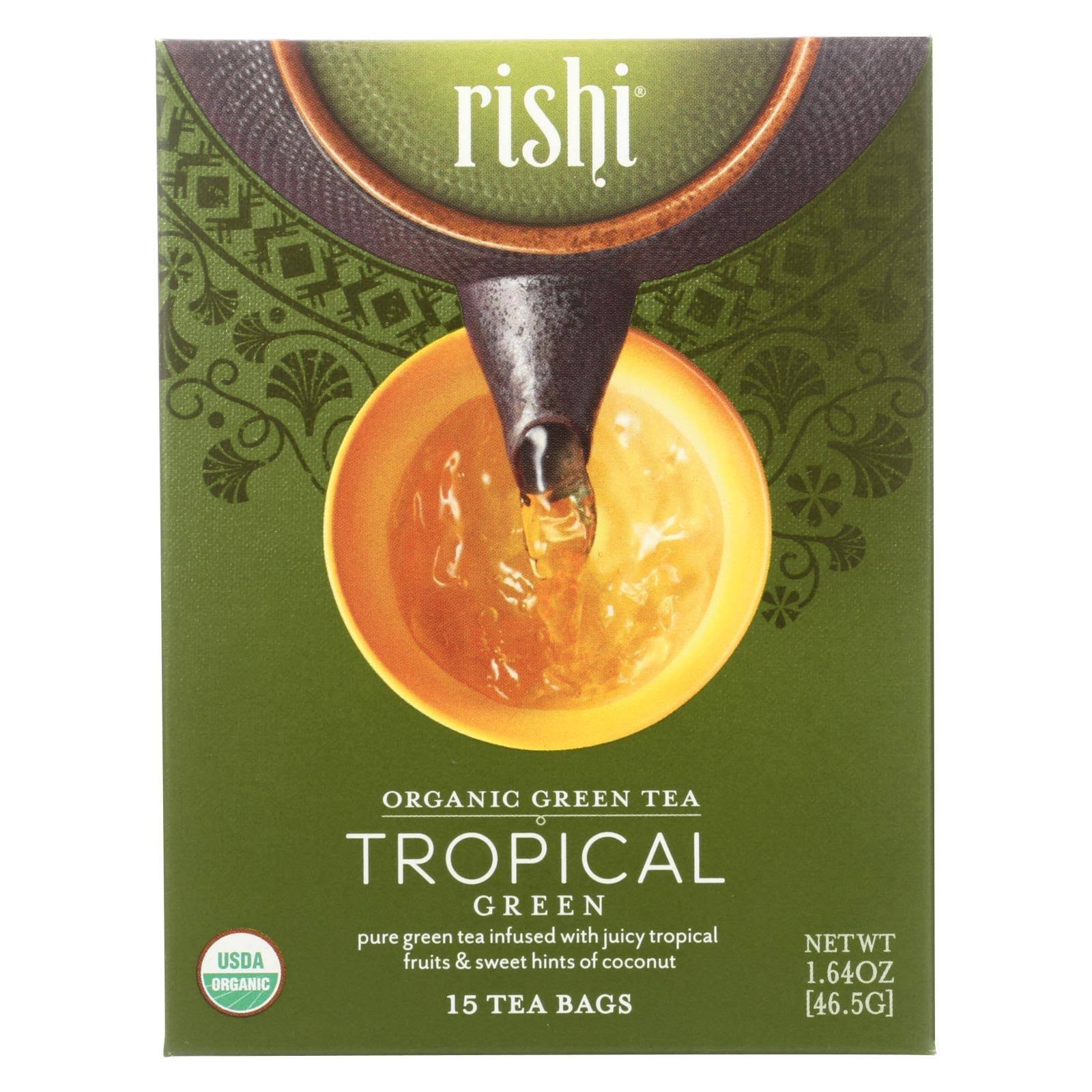 Rishi Tea Organic Green Tea - Tropical Green, 15 Tea Bags, 46.5g
