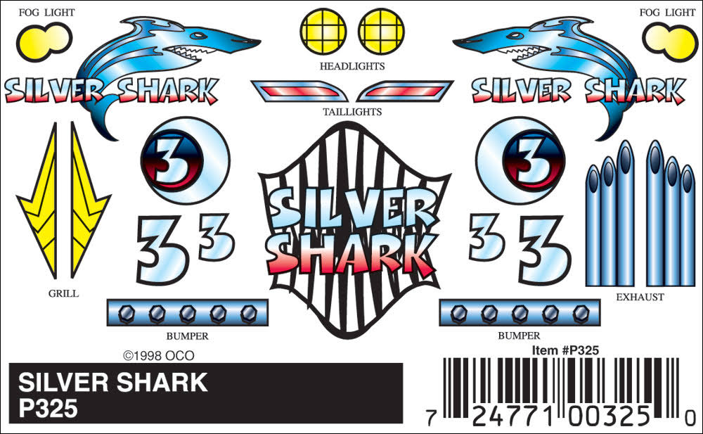 PineCar Silver Shark Stick-On Decals