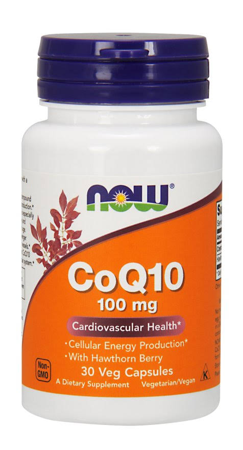 Now Foods Coq10 Cardiovascular Health Supplement - 100mg, 30 Vegetarian Capsules