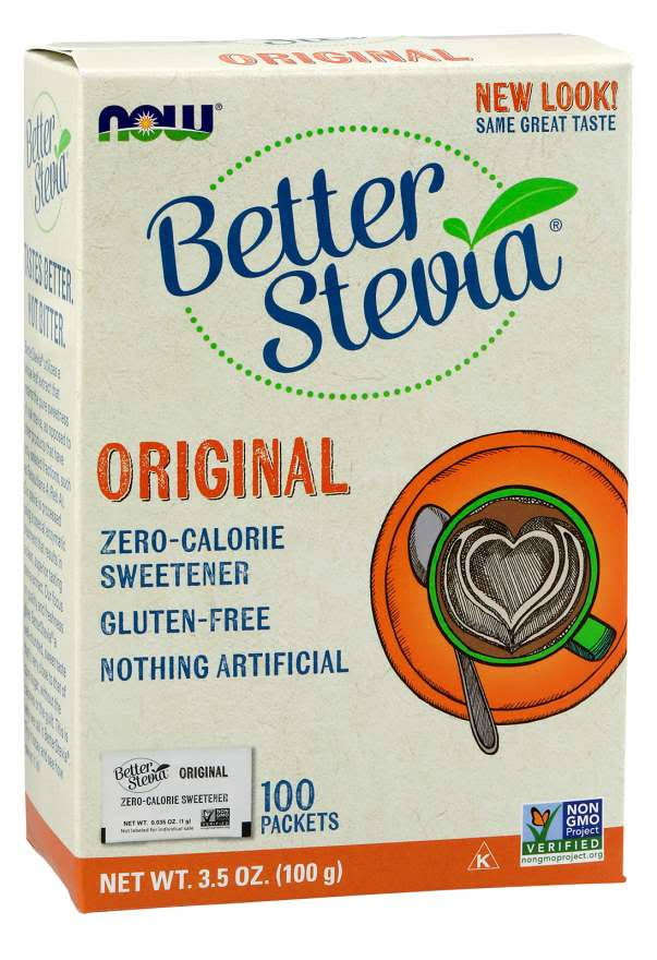 Now Foods Better Stevia Zero Calorie Sweetener - 100 Packets, 100g