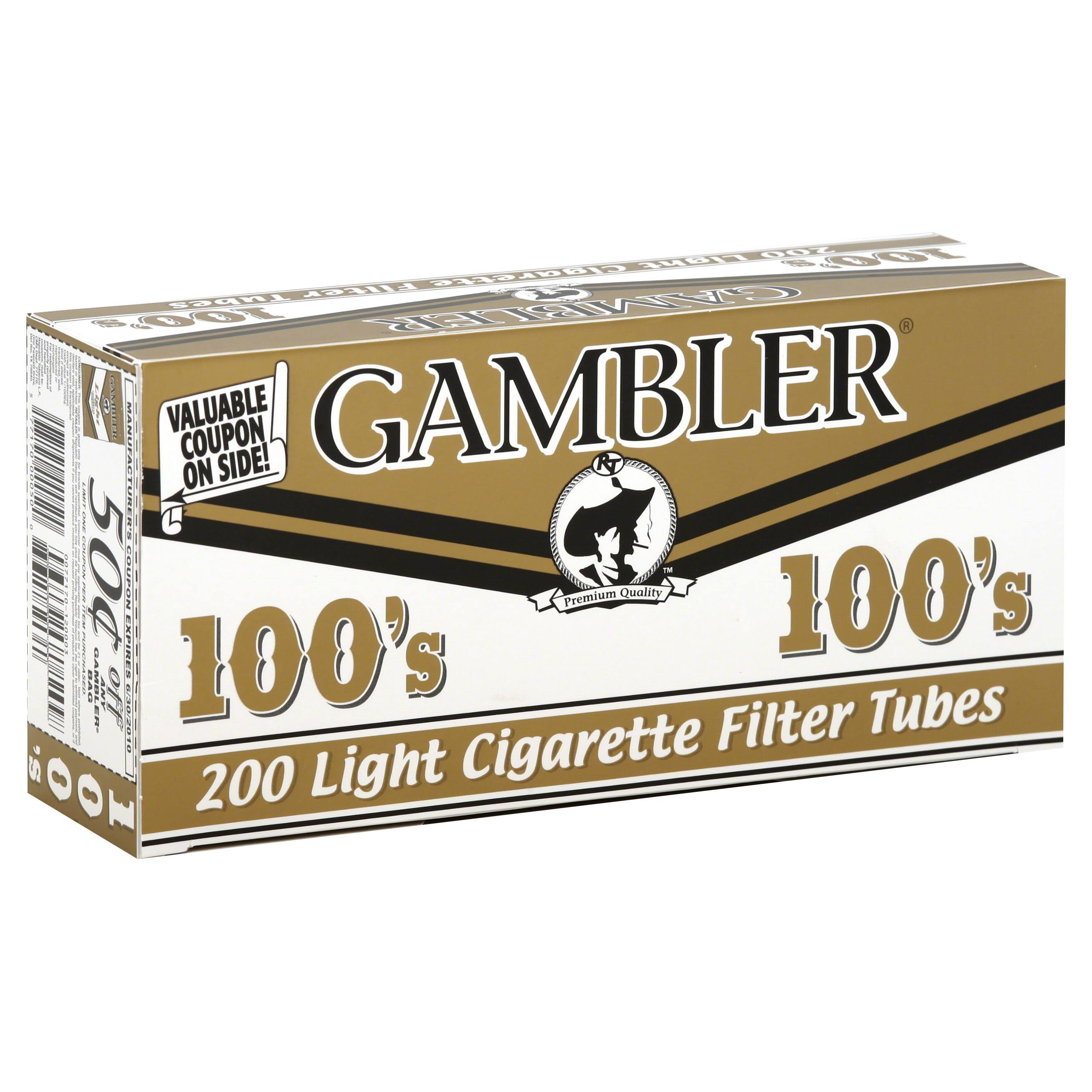 Gambler Cigarette Filter Tubes, Premium Quality, Light 100's - 200 tubes