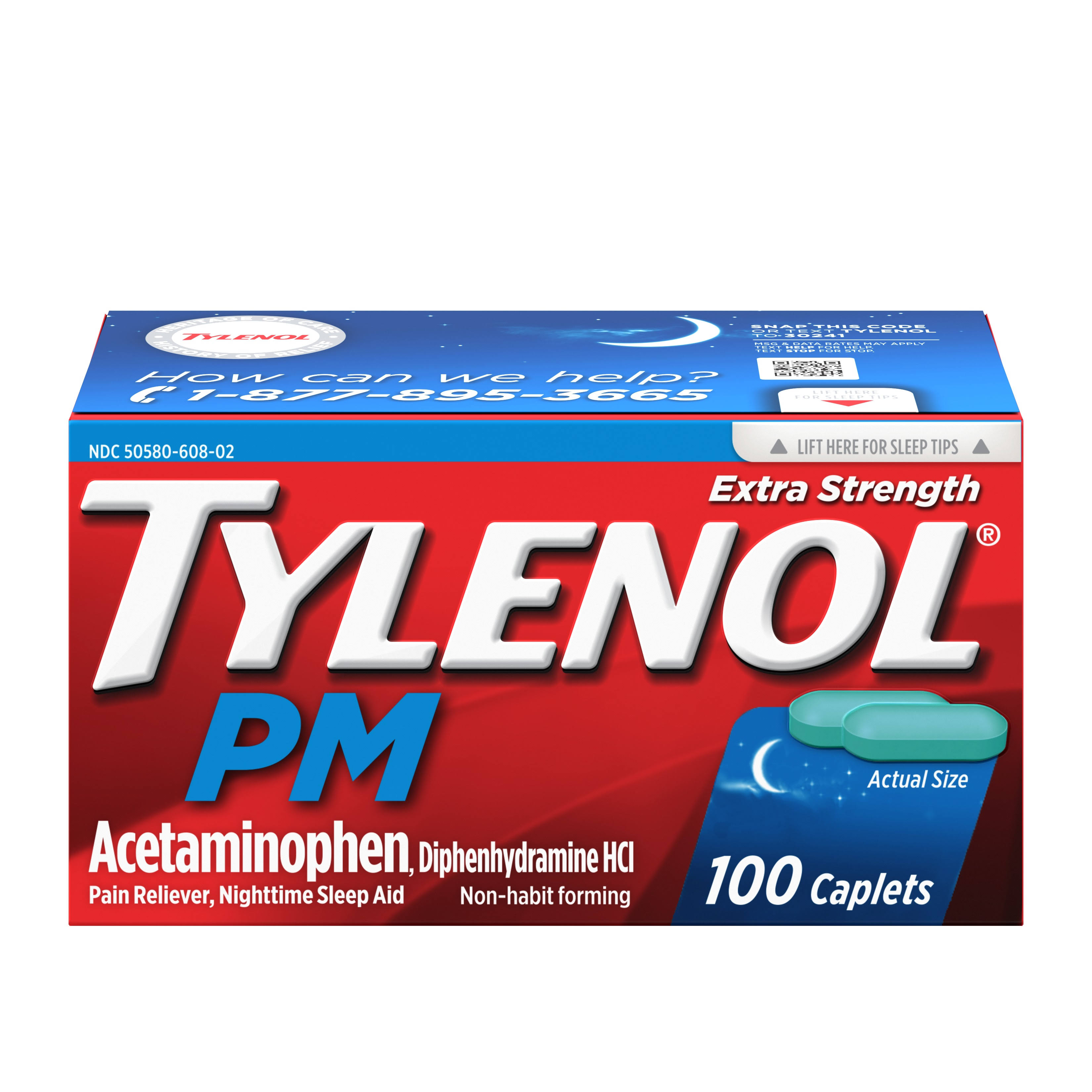 Tylenol PM Acetaminophen Pain Reliever - 500mg, 100 Caplets