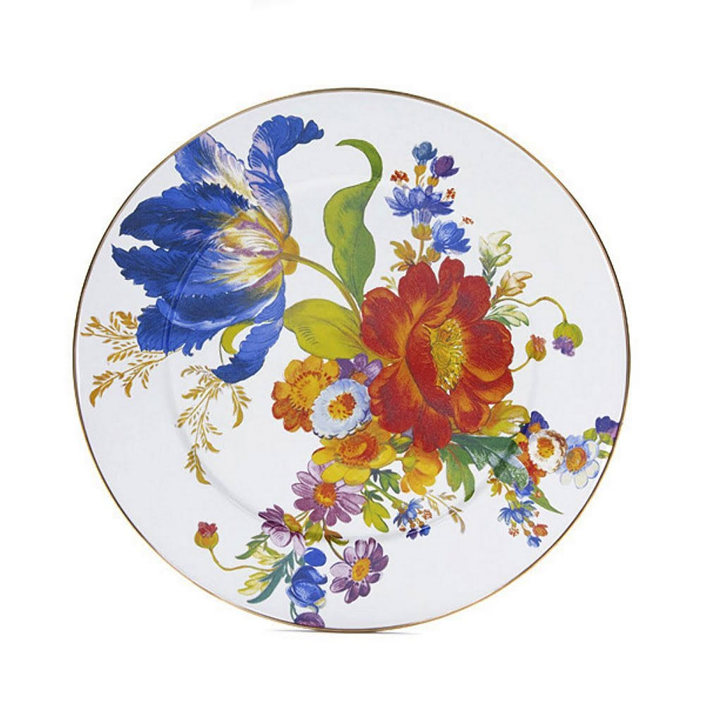 MacKenzie-Childs Flower Market Enamel Serving Platter - White