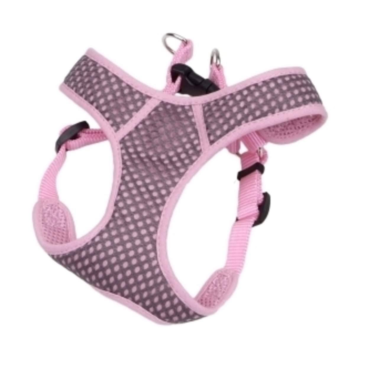 "Coastal Pet Products Comfort Soft Sport Wrap Adjustable Dog Harness - 2XSmall, 14-16"" Girth, Grey/Pink"
