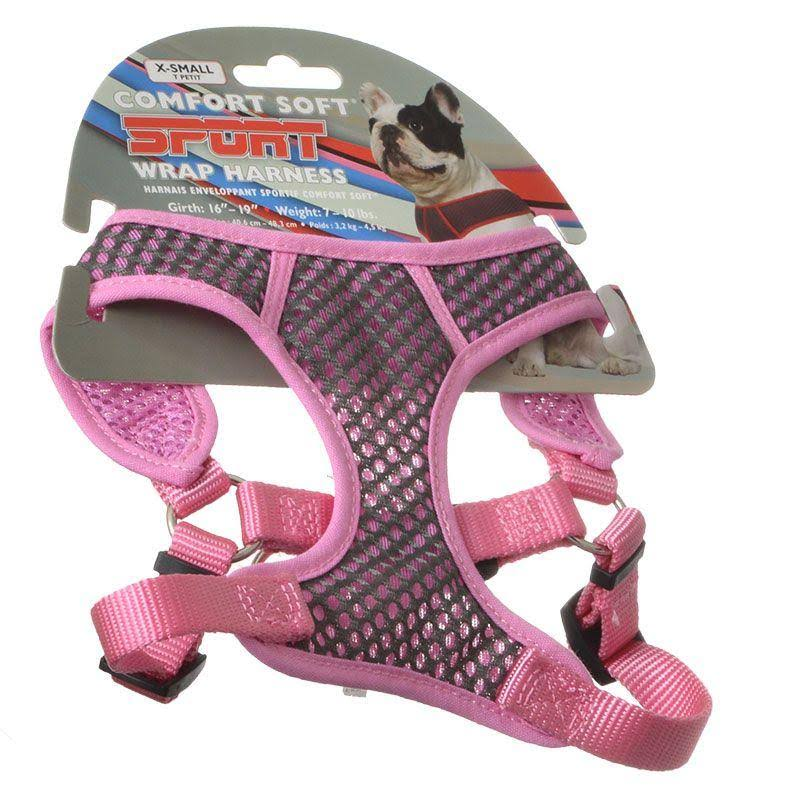 "Coastal Pet Comfort Soft Sport Wrap 06484 Gypxsm Nylon Adjustable Dog Harness - Pink and Grey, 5/8"" X 16"" to 19"", X-Small"