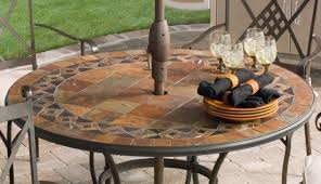 Fitted Outdoor Tablecloth With Umbrella Hole by Table N Awesome Round Outdoor Table Black Round Patio Dining