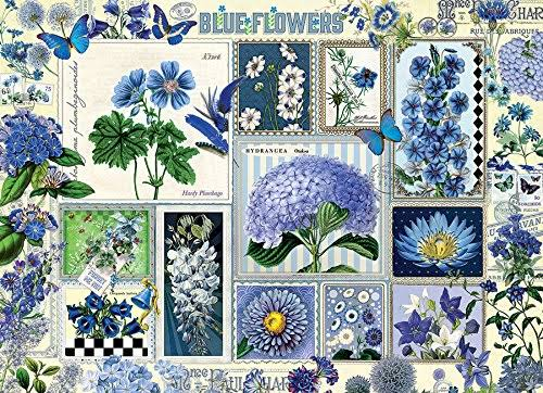 Cobblehill 80043 Blue Flowers Puzzle - 1000pcs
