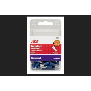 Ace Insulated Female Disconnect Wire Connector - Blue, 16-14 Gauge, 100pk