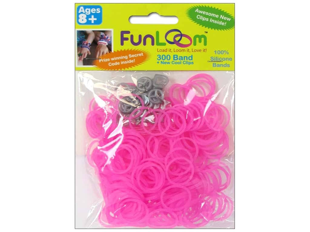 Funloom Silicone Bands 300pc Glow Dark Peach Red