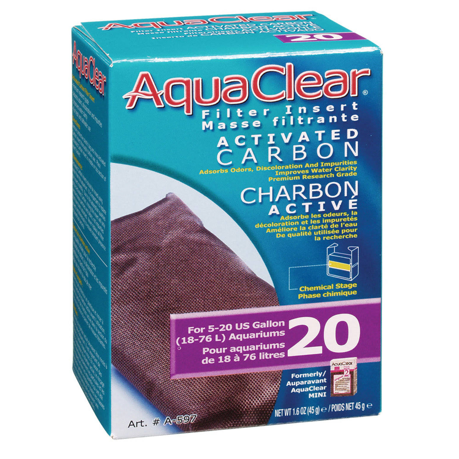 AquaClear Activated Carbon Filter Insert - 20 Count