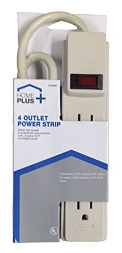 Homeplus Power Strip - 15A, 4 Outlet, White