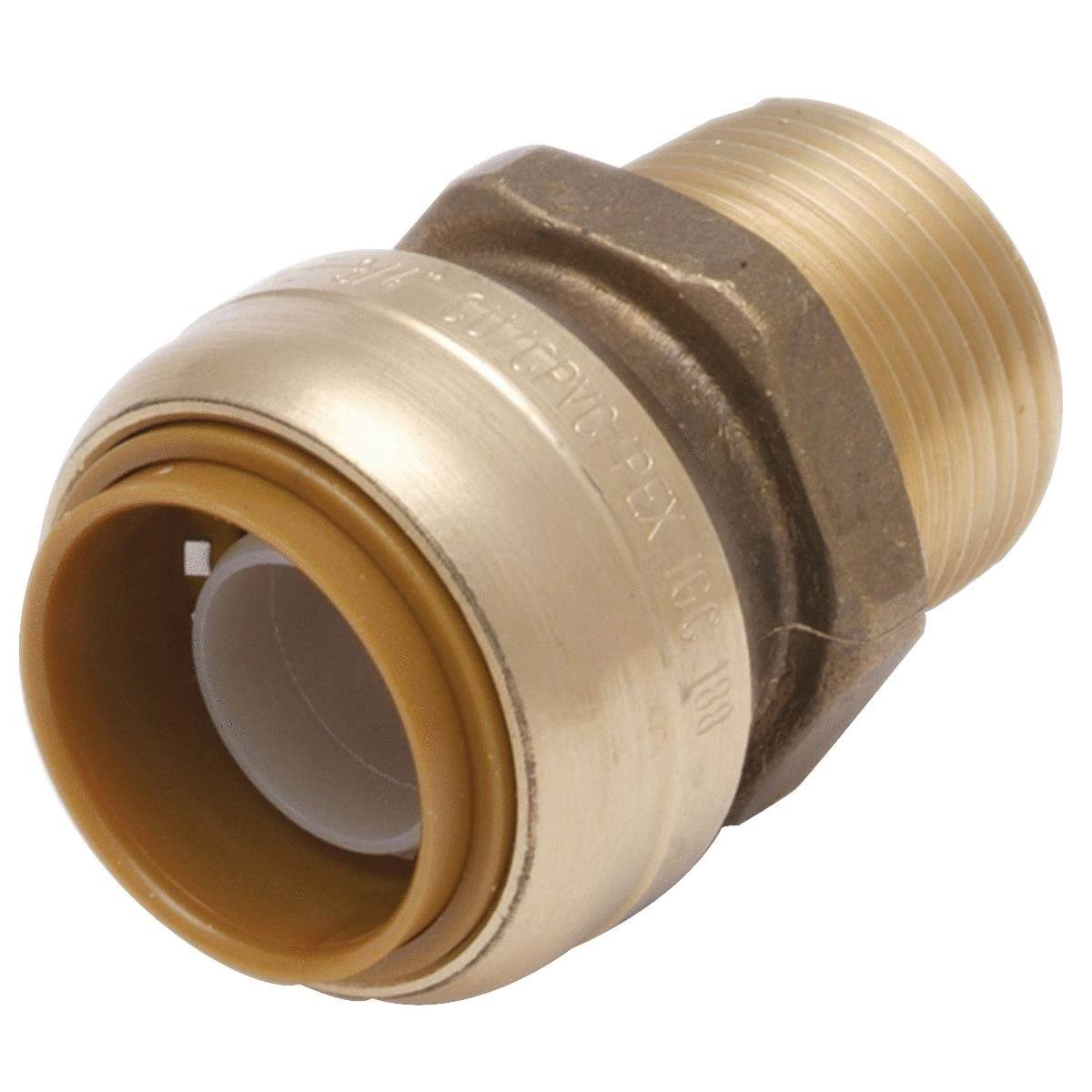 "SharkBite Push-to-Connect Male Pipe Thread - 1/2""x3/4"", Brass"