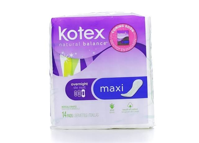 U by Kotex Maxi Pads - Overnight, Unscented, 14 Pads