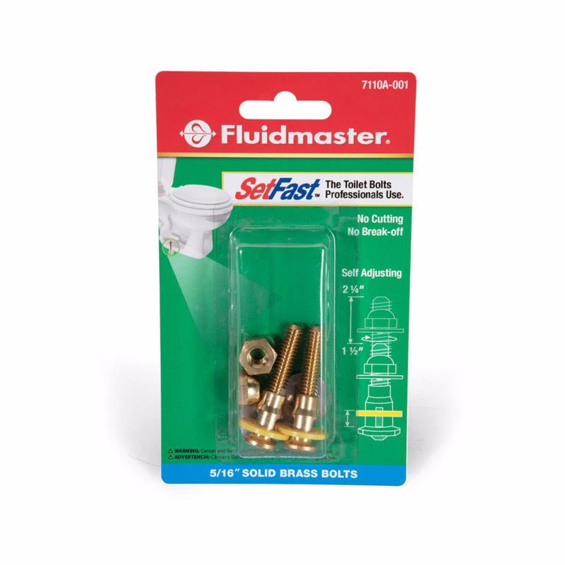 Fluidmaster 7110A-001-P10 SetFast Toilet Bolts Set, Brass