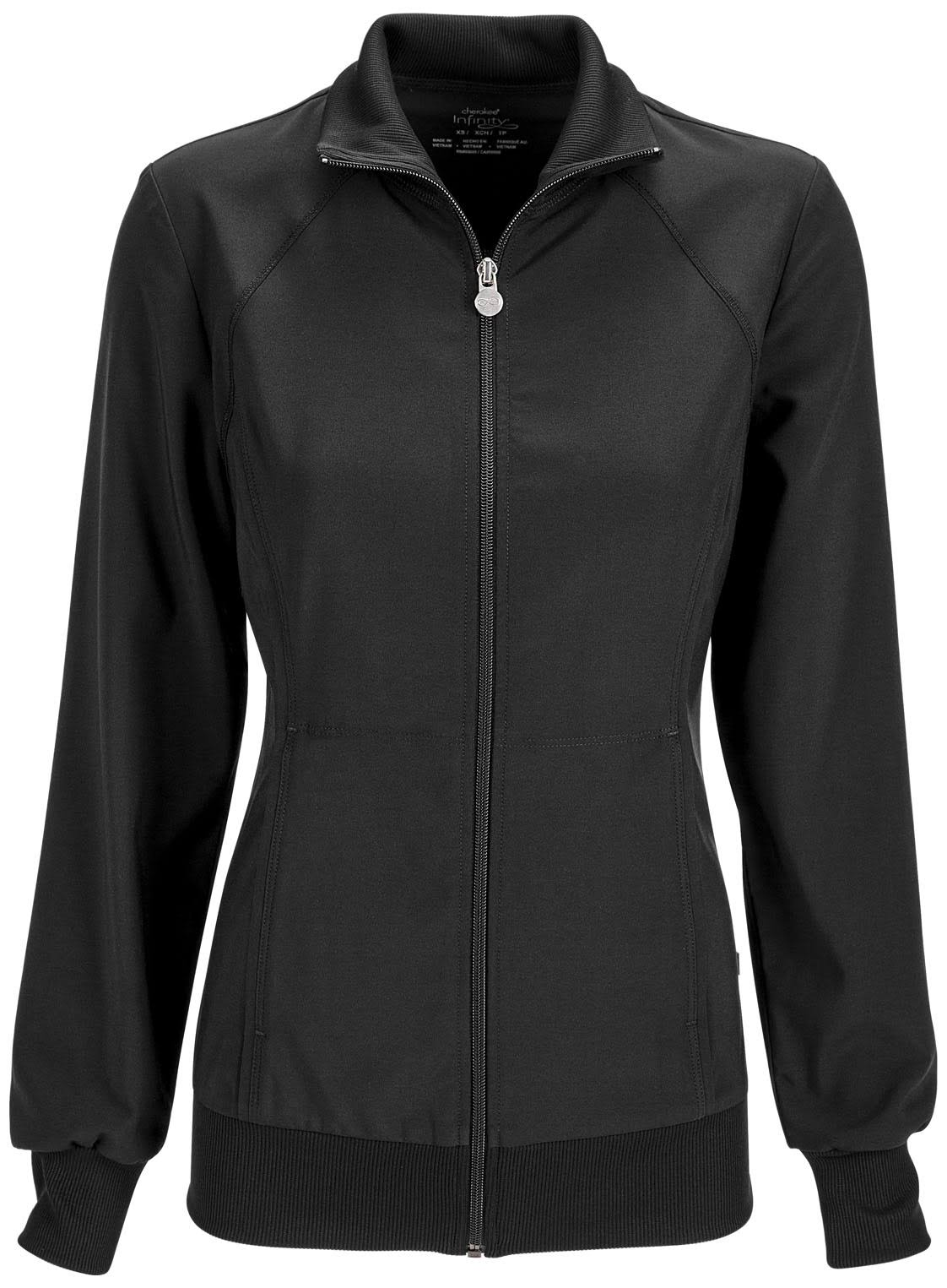Cherokee Women's Infinity Zip Front Warm Up Jacket - Black, X-Large