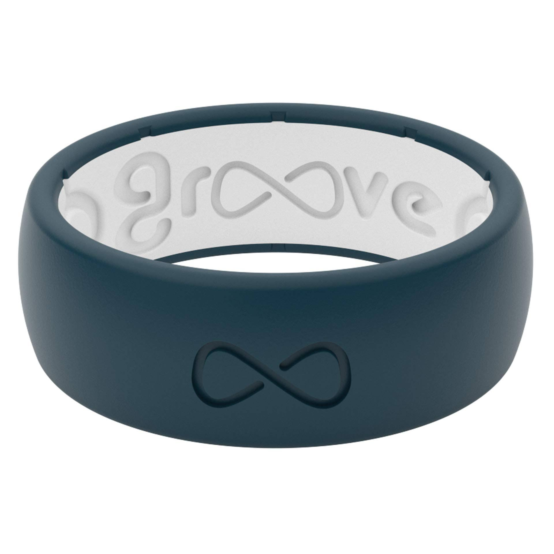 Groove Life Original Silicone Ring - Anchor blue/Snow, Size 10