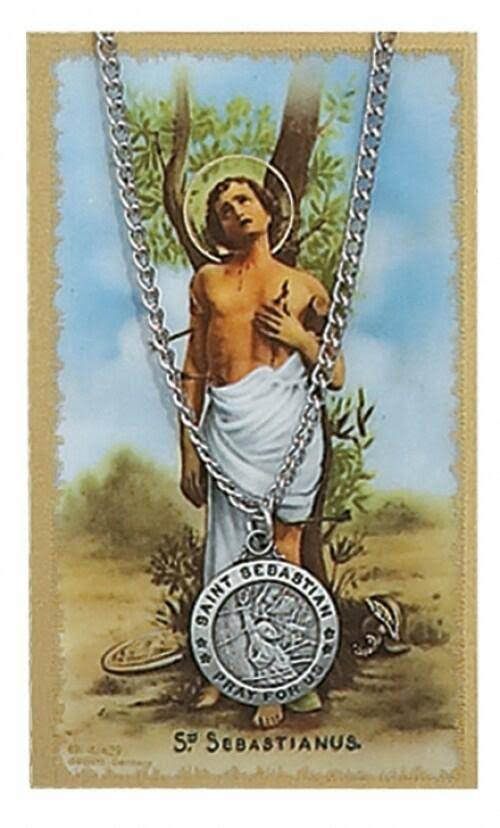 McVan Round St Sebastian Medal - with Prayer Card