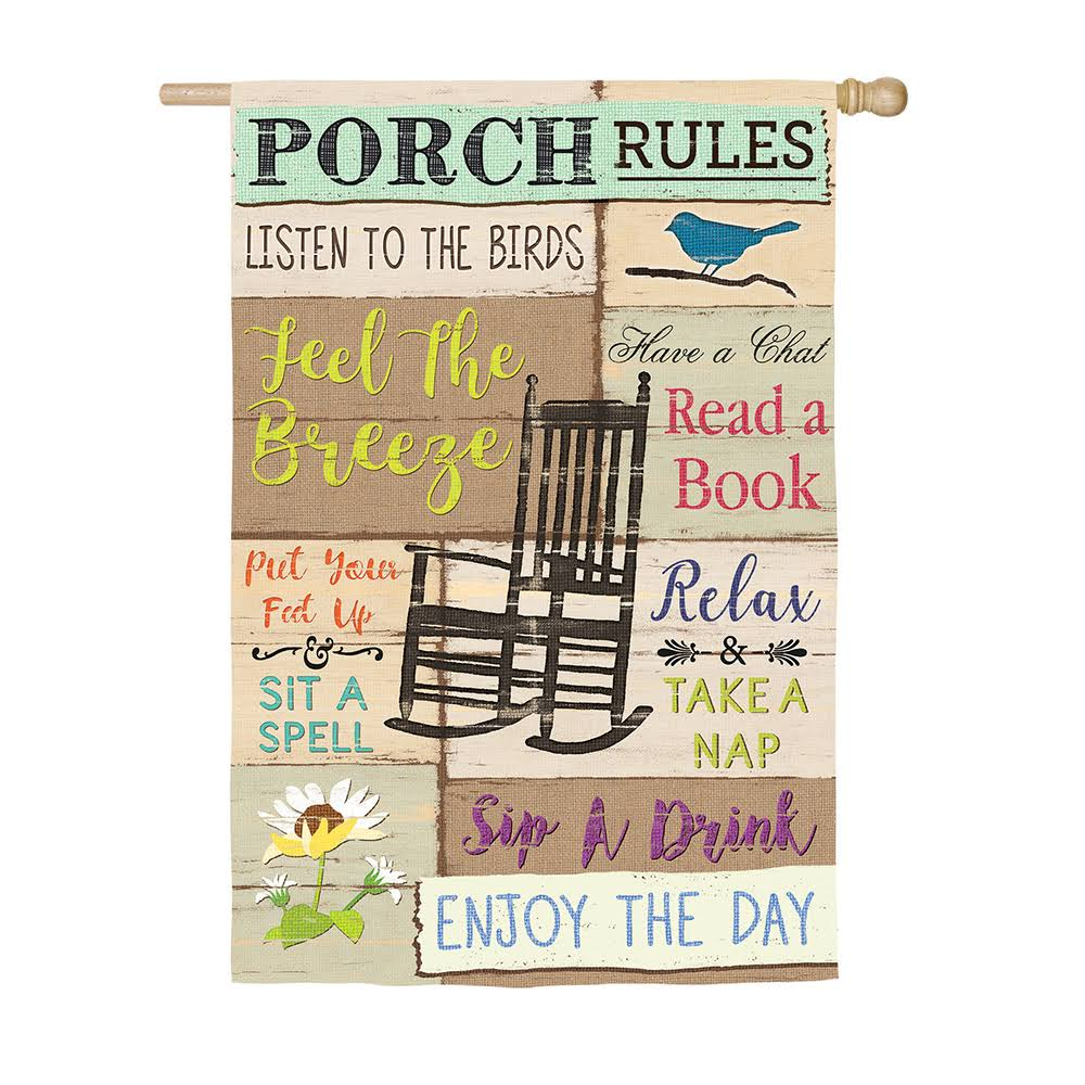 Evergreen Porch Rules Suede House Flag