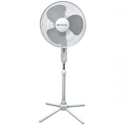 "Comfort Zone Oscillating Pedestal Fan - 16"", 3 Speed, White"