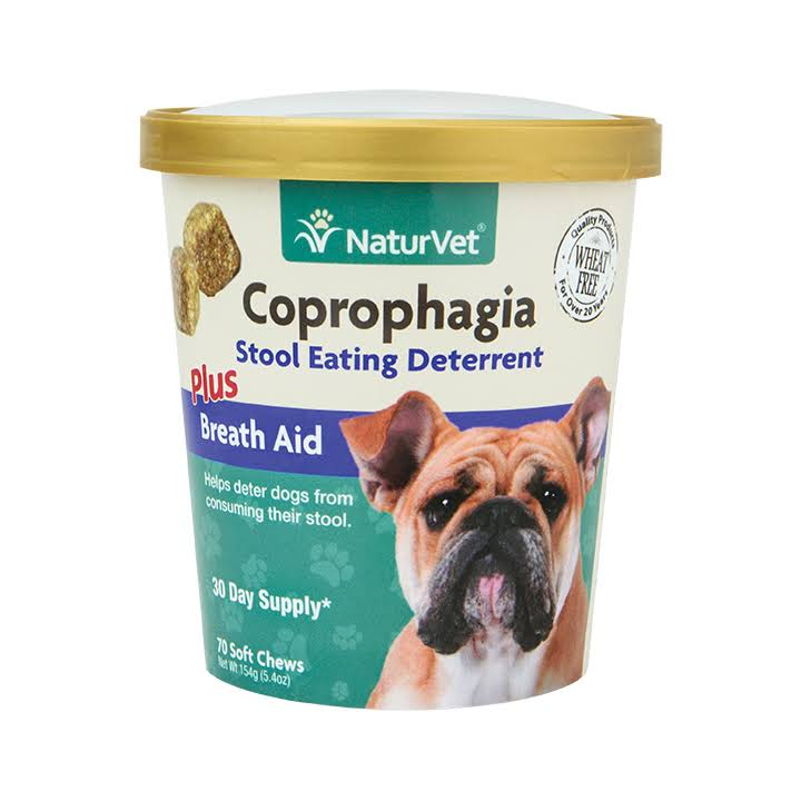 NaturVet Coprophagia Plus Breath Aid Stool Deterrent Soft Chew for Dogs - 70ct
