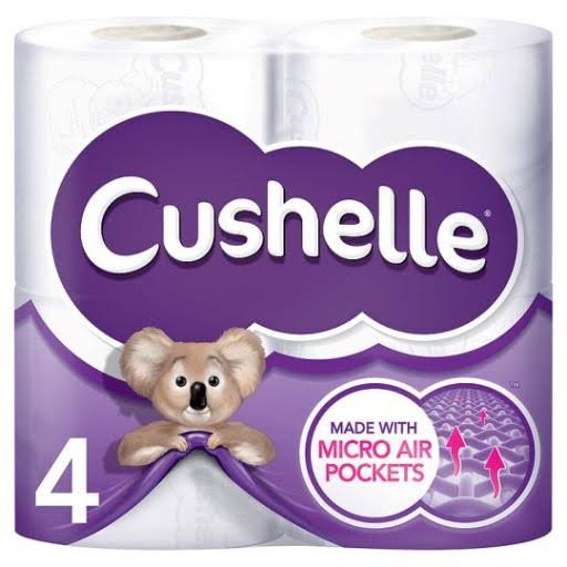 Cushelle Toilet Tissue - White, 4 Roll