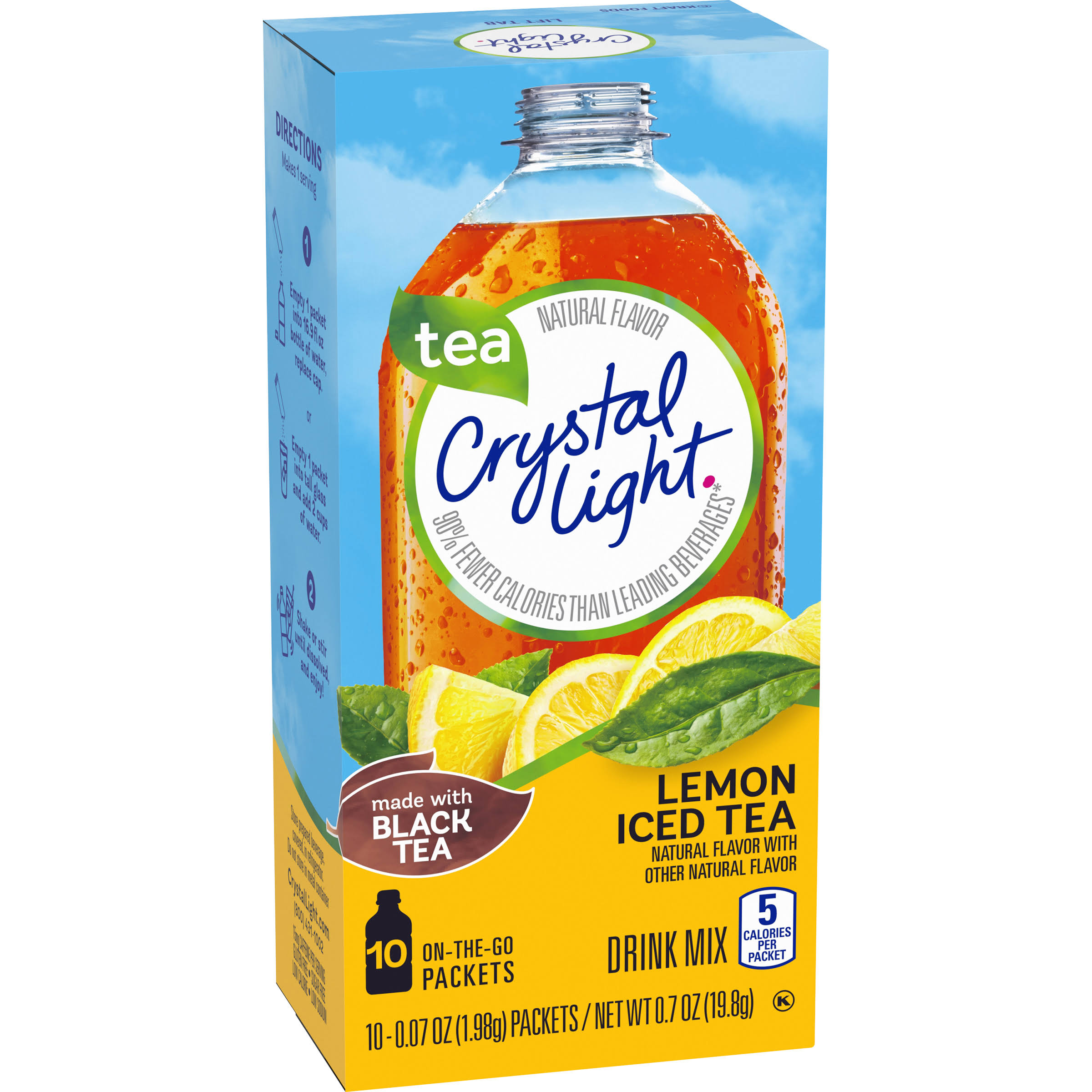 Crystal Light Iced Tea On The Go - Lemon, 10 On-The-Go Packets, 19.8g