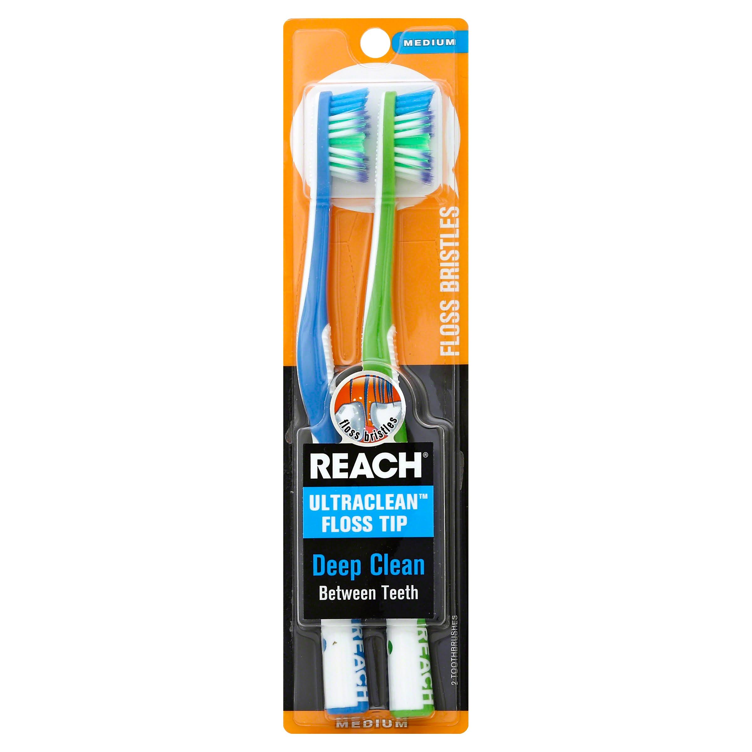 Reach Ultraclean Toothbrushes, Floss Tip, Medium - 2 toothbrushes