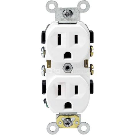 Leviton Duplex Grounding Receptacle Outlet Adapters - 15A, White