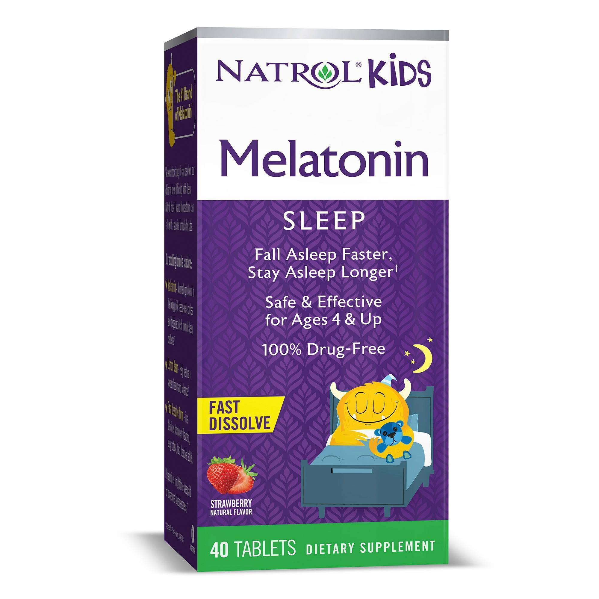 Natrol Kids Melatonin, Strawberry 40 Tablets 235434 OC