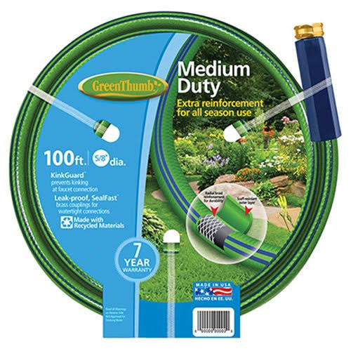 Green Thumb Medium Duty Garden Hose - 5/8in x 100ft