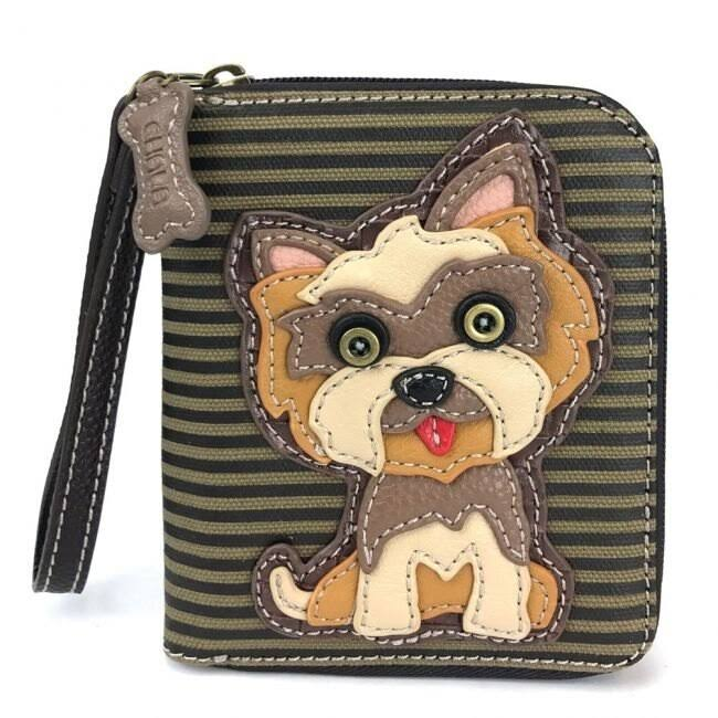 Chala Yorkie Yorkshire Striped Olive Zippered Wallet - Brown