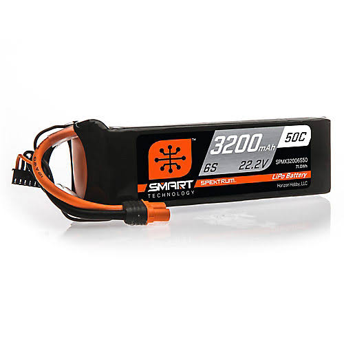 Spektrum 22.2V 3200mAh 6s 50C Smart Lipo Battery IC3 SPMX32006S50