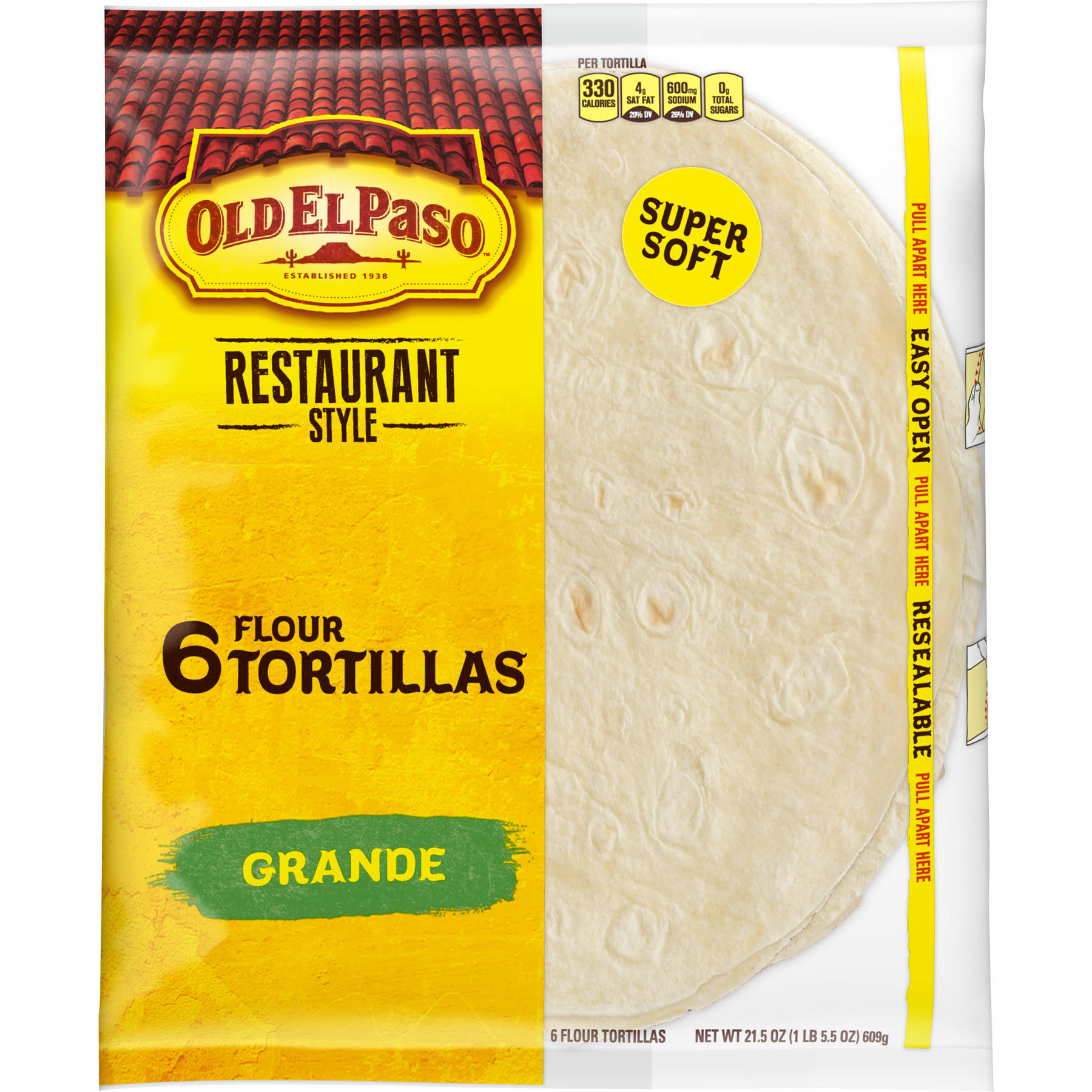 Old El Paso Tortillas, Grande, Super Soft, Restaurant Style - 6 tortillas, 21.5 oz