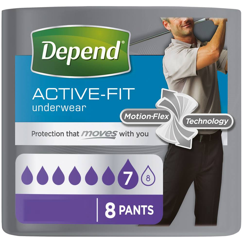 Depend Active-Fit for Men Incontinence Pants - Large, x8