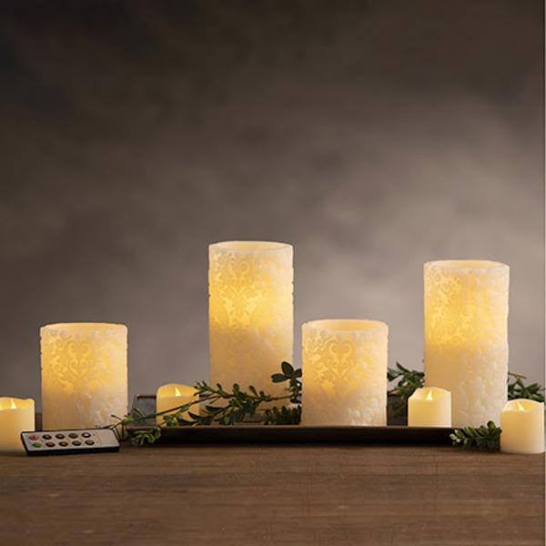 Darice LED Candle Set: Scroll Print, Ivory, Battery Operated, Remote, 9pcs