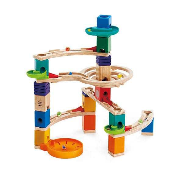 Hape Toys Wooden Marble Run Cliffhanger Quadrilla Playset - 94pcs