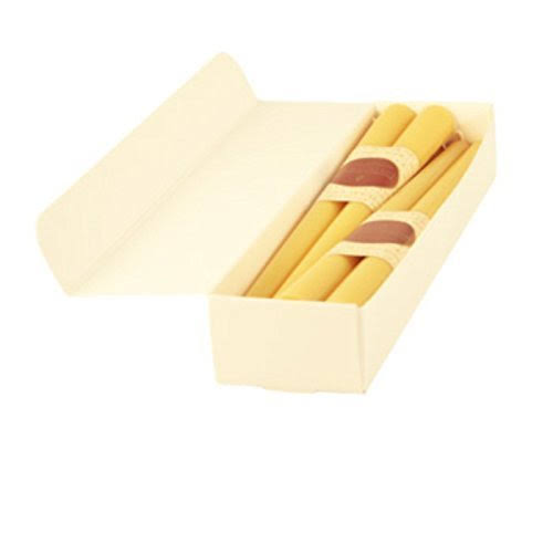 Honey Candles Pure Beeswax 12'' Taper - Natural- Set of 8, 8 Piece