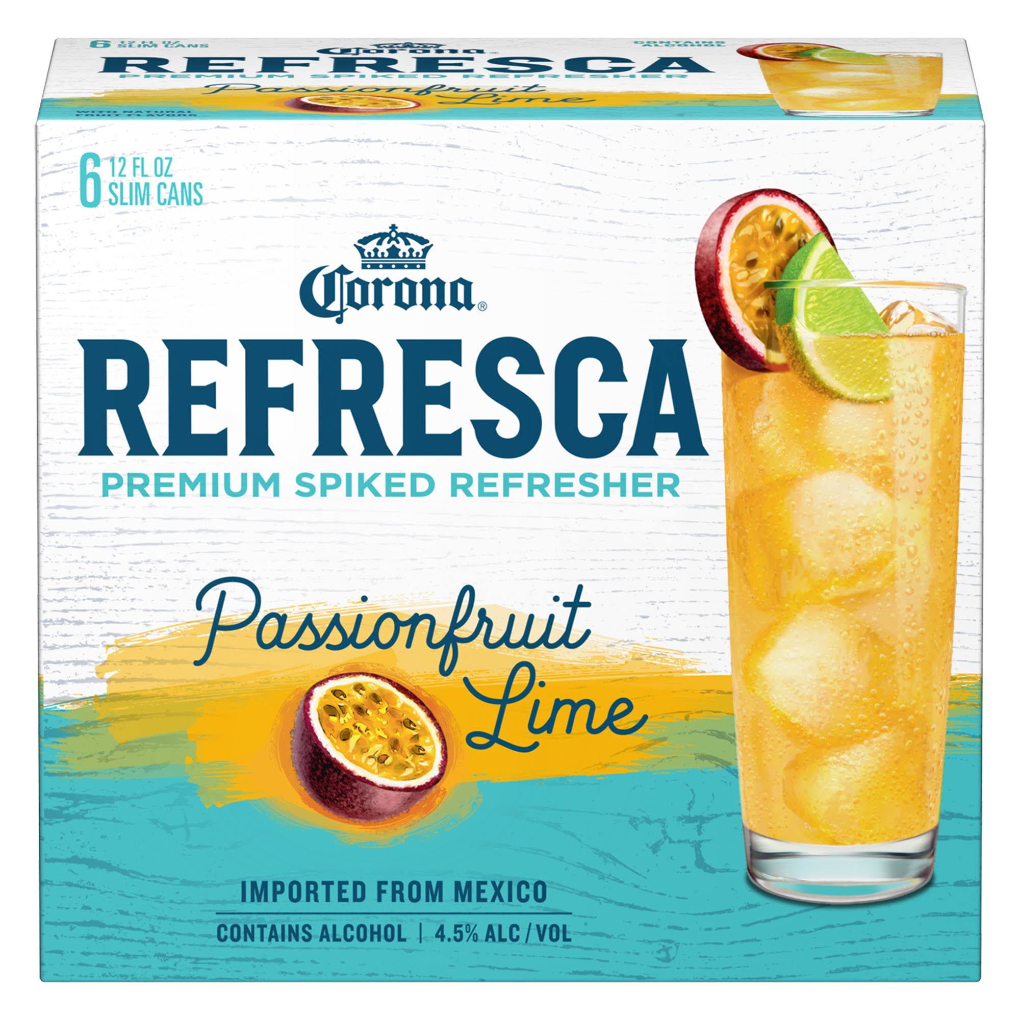Corona Refresca Malt Beverage, Passionfruit Lime - 6 pack, 12 fl oz cans