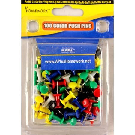 A+ Homework Clamshel Package Colorful Push Pins - 100 Count