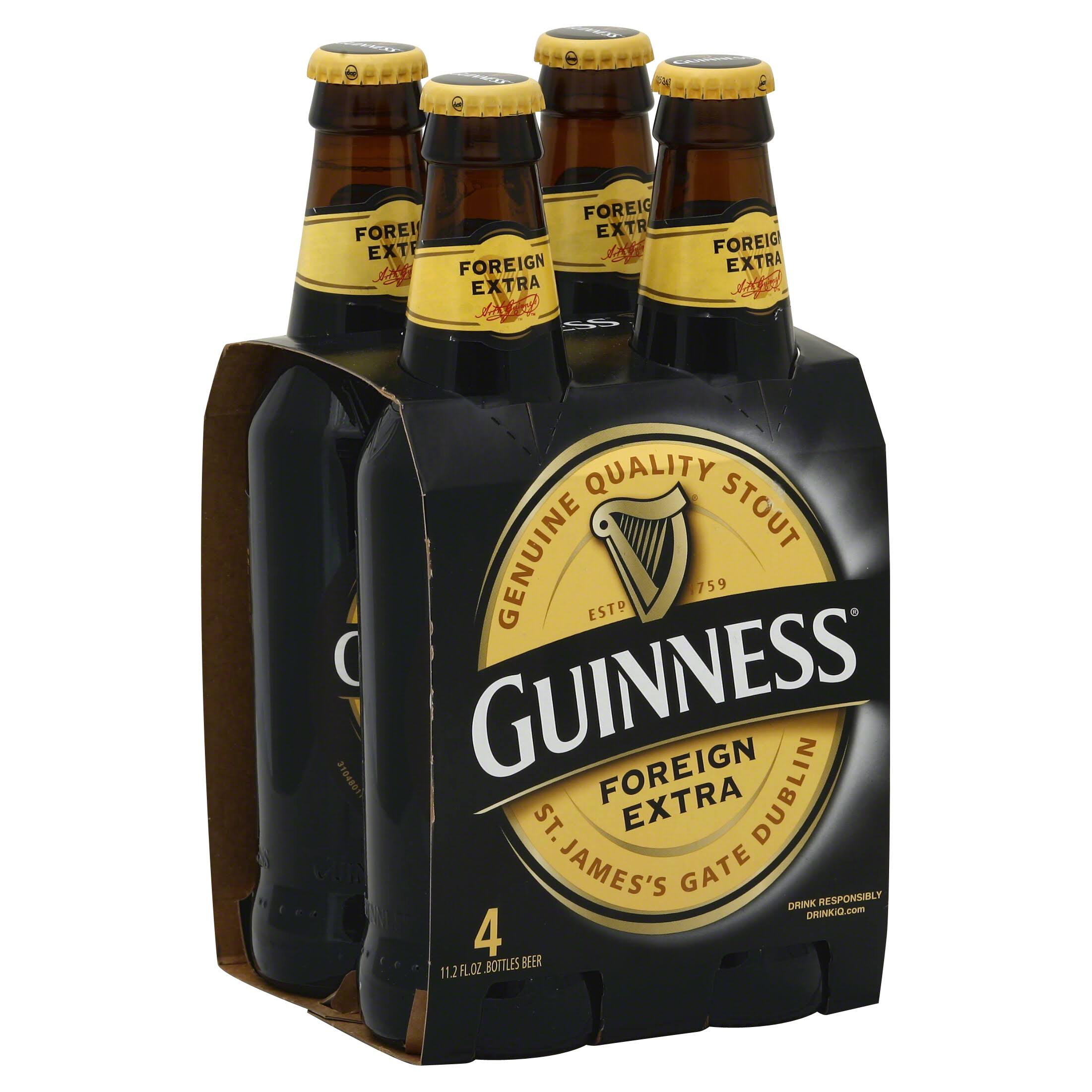 Guinness Beer, Foreign Extra - 4 pack, 11.2 fl oz bottles