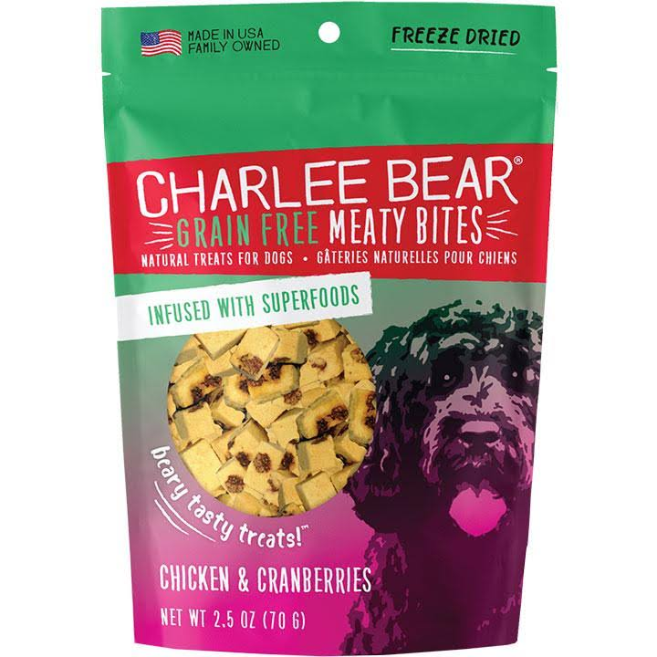 Charlee Bear Grain-Free Meaty Bites Dog Treats 2.5oz Chicken & Cranberry