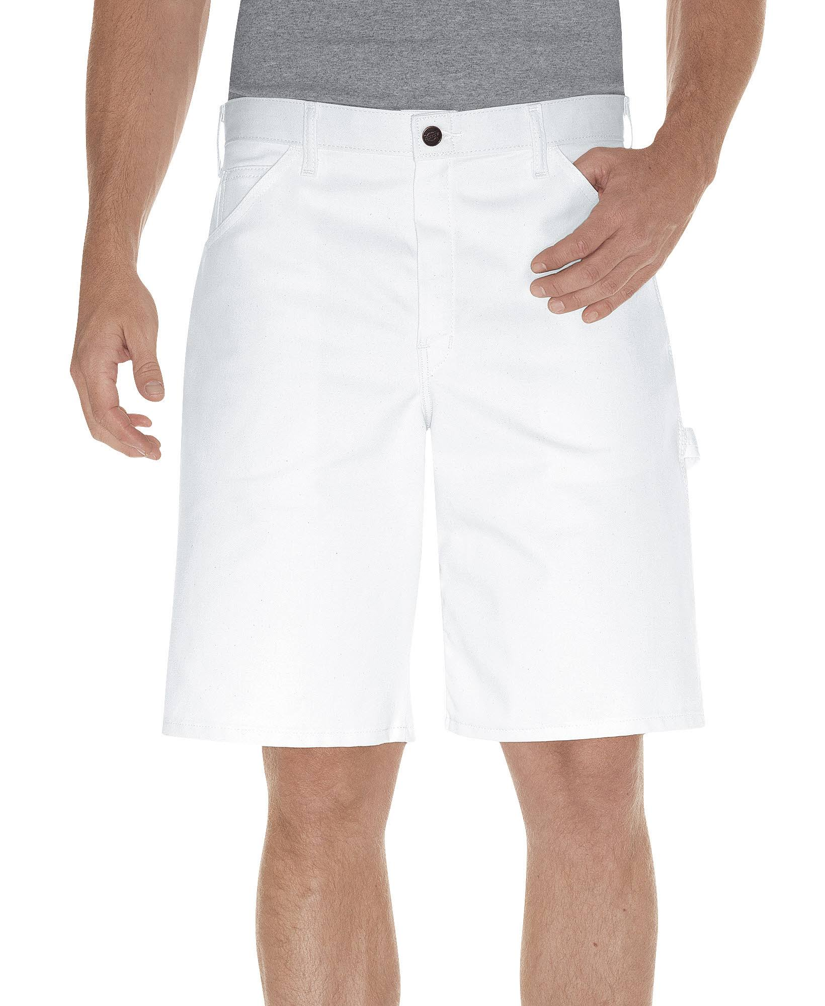 "Dickies DX400WH Relaxed Fit Painters Short - 36"" x 10"", White"