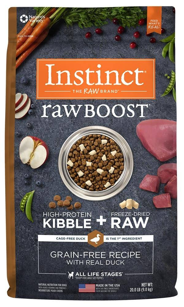 Natures Variety Instinct Raw Boost Grain Free Duck Dry Dog Food - 4lbs