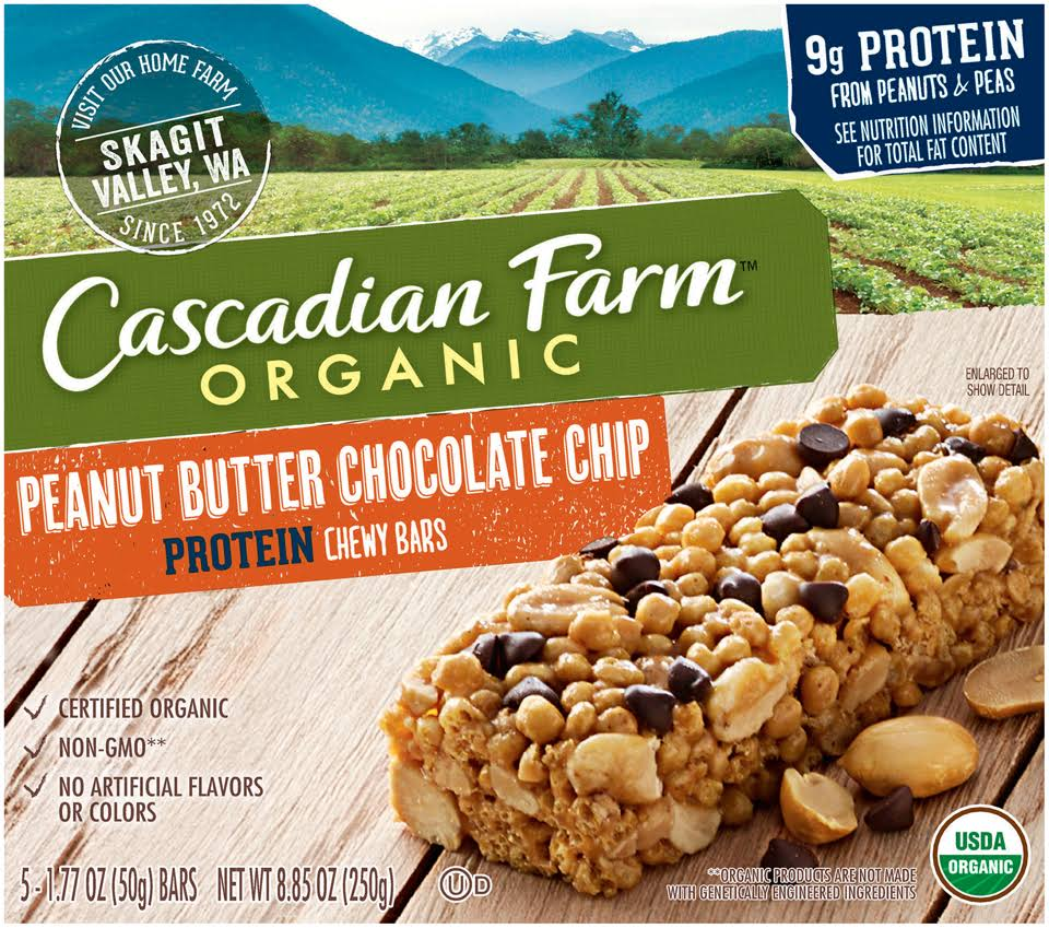 Cascadian Farm Protein Chewy Bars, Peanut Butter Chocolate Chip - 5 count, 8.85 oz box